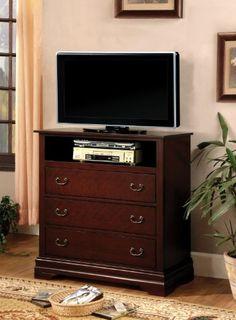 Furniture of America Delenis TV Console, Cherry Finish