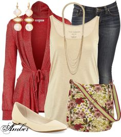 Red and cream with jeans New Outfits, Casual Outfits, Cute Outfits, Fashion Outfits, Fashion Tips, Casual Clothes, Winter Clothes, Casual Pants, Fall Outfits