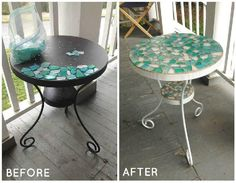 Patio Table Makeover - I love working on any little project that will enhance the look of the front porch. This metal side table was found at a yard sale for $2 and the bag of glass tiles was found at a thrift store for $3. My vision for this table became very clear pretty quickly.