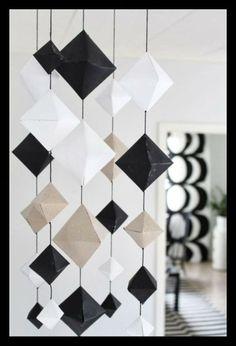 "nurin-kurin: DIY: Geometrinen ""timantti"" Paper mobile"