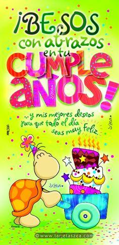 Tarjeta de cumpleaños llena de cariño-Tortuga Abelardo llevando un pastel de cumpleaños en una carreta © ZEA www.tarjetaszea.com Happy Birthday Quotes, Happy Birthday Wishes, Birthday Greetings, Spanish Birthday Wishes, Birthday Pins, Happy Wishes, Happy B Day, Congratulations, Birthdays