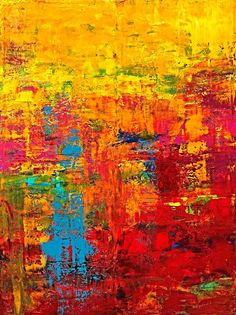 ABSOLUTELY HAPPY, acrylic on canvas, 200 x 150 cm, extra large abstract art by Eva Tikova Happy Colors, Abstract Art, Canvas, Artwork, Painting, Collection, Tela, Work Of Art, Painting Art