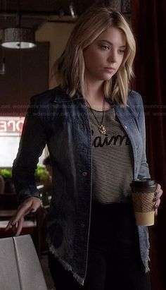 Hanna�s striped �J�aime� top and denim jacket on Pretty Little Liars.  Outfit Details: http://wornontv.net/34895/ #PLL