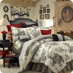 Finally decided on my bedroom decor!! red and black and white