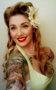Tattoo beauty with gorgeous hair... Rockabilly/pin up