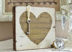 20+ Valentine projects. Rustic wood and repurposed metal Valentine heart - featured at KnickofTime.net
