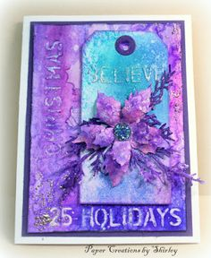 Paper Creations by Shirley: Tattered Poinsettia in Purple and Blue