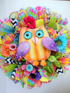 Large Summer Owl Wreath  Deco Mesh Wreath by SparkleWithStyle,