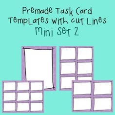 You will receive 3 task card templates and cover page (with my crossed corners frame) on my purple math background paper. Files are provided in .png images only and 300 dpi.     You will receive:    1 - cover page  1 - set of 4 task cards  1 - set of 6 task cards  1 - set of 9 task cards