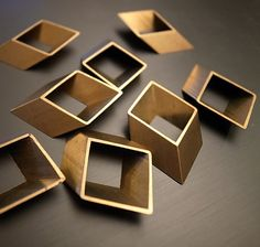 6 pieces of vintage old stock cut raw brass tube outline charm in rhombus 3d square geometric shape