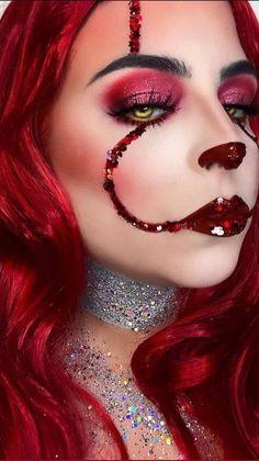 Amazing Halloween Makeup, Halloween Makeup Looks, Red Hair Halloween Costumes, Cute Witch Costume, Red Makeup Looks, Unique Halloween Makeup, Clown Halloween Costumes, Vampire Costumes, Halloween Inspo