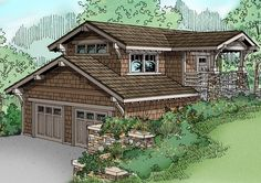 Garage apartment plans are closely related to carriage house designs. Typically, car storage with living quarters above defines an apartment garage plan. View our garage plans. Garage Apartment Plans, Garage Apartments, Garage Plans, Shed Plans, Carriage House Plans, Hillside House, Garage House, Garage Doors, Car Garage