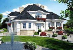 What a pretty house! Unique House Design, House Front Design, Dream Home Design, Bungalow Style House, House Plans Mansion, Architectural Design House Plans, Beautiful House Plans, Model House Plan, Prefabricated Houses