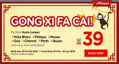 How was your Chinese New Year ? still want more holiday ? Dont worry, we still have a lot of promotion for Chinese New Year Holiday with AirAsia Gong Xi Fa Cai Promotions on Airpaz.com. Fly from Kuala Lumpur to Kota Bharu, Pattaya, Macao, Goa, Chennai, Perth, Busan and many other fantastic holiday destination with all in fare from RM 39  Book Today : http://.airpaz.com