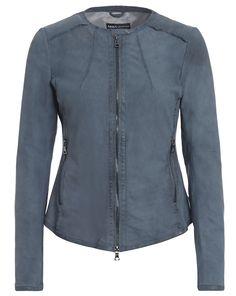 Lederjacke mit offenen Saum-Kanten - blau von ARMA Collection bei cute fashion jetzt kaufen   kleidoo