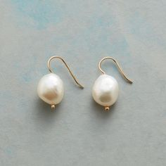 """SUBLIME PEARL EARRINGS--These plump, cultured freshwater pearls speak for themselves, needing nothing more than a dotted French wire to be perfectly complete. Earrings handmade in USA by Kyoko Honda. 14kt gold. 7/8""""L."""