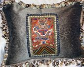 Pair Pillows Antique Chinese Silk Embroidery LARGE Handmade EXCEPTIONAL 18th Century Embroidered Panels
