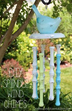 DIY Spindle Wind Chimes. I have the perfect old chair just waiting to be taken apart!