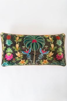 "Serayu Rayon Cotton Cushion - Charcoal 26"" x 13"""