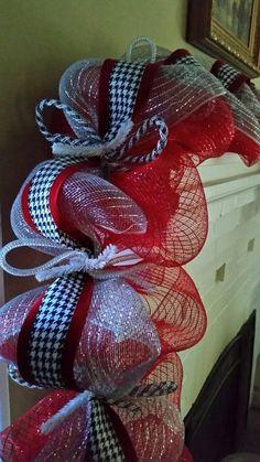 Alabama Crimson Tide deco mesh 9ft. Garland Alabama Wreaths, Christmas Swags, Alabama Crimson Tide, Roll Tide, Deco Mesh, 4th Of July Wreath, Garland, College, Mom