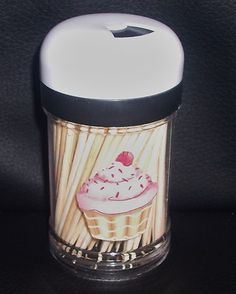 CUPCAKE Kitchen Decor Handcrafted TOOTHPICK Dispenser New White top/toothpicks  (: