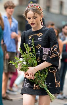 Kristina Bazan Wearing Dolce & Gabbana, she looks like a modern-day medieval princess, which totally satisfies our dress-up fantasies and earns her the win. Congrats!  Photo: I'M KOO
