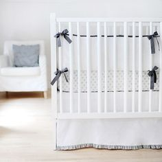 Sweet & Simple Baby Bedding in Gray with Ruffle