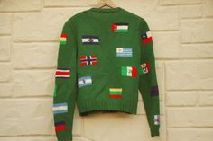 Vintage 70s-80s Handknit Flag Cardigan Sweater by SycamoreVintage