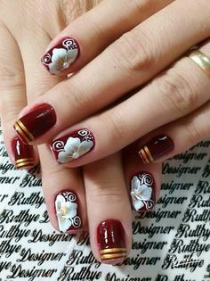 Unha diferente de Rutthye Designer. Different nail. Unã diferente. Unghie different. Fabulous Nails, Gorgeous Nails, Pretty Nails, Daisy Nails, Red Nail Designs, Pedicure Nail Art, Flower Nail Art, Beautiful Nail Art, Cool Nail Art