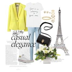 """""""Yellow Blazer"""" by veronika235 ❤ liked on Polyvore featuring Cartier, Forever 21, Converse, Frame Denim, Sundry, Merci Gustave!, women's clothing, women, female and woman"""