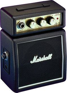 Marshall MS-2 Standard Micro Amp - The MS-2 is the ultimate in portable battery/mains adaptor operated micro amps, packing a full 1 Watt of Marshall tone into a tiny case measuring just 14 x 11 x 6cm. This mighty micro Marshall half-stack has switchable Clean and Overdrive modes. A single Tone control provides full focus of bass to treble.    The MS-2 has a headphone output for those of you who want to rock in private. This output can also be used to effectively drive an external power amp.