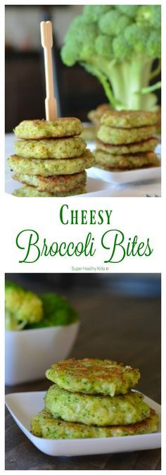 Cheesy Broccoli Bites. Dinner side dish or snack! Great way to get kids to ask for more broccoli! http://www.superhealthykids.com/cheesy-broccoli-bites/