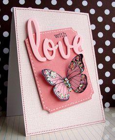 glittery pink butterfly card...