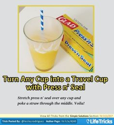 Simple Solutions - Turn Any Cup into a Travel Cup with Press n' Seal