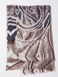 Feather Paisley Print Scarf by Kinross Cashmere