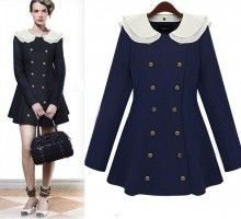 Navy White Collar Long Sleeve Trench Double Breasted Celebrity Coat