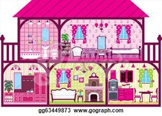 Clip Art Vector - House for the girl in a cut. Stock EPS ...