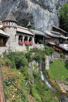 entrance of St Beatus Caves, near Interlaken, Bern, Switzerland
