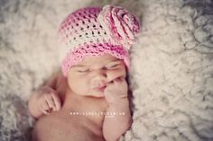Crochet Baby Hats, Baby Girl Hats, Newborn Baby Hat, Crochet Infant Hat, Pink, White, Newborn Size, Children Clothing. $22.00, via Etsy.