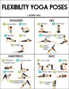 20 Beginner Poses for Flexibility (+ free printable beginner yoga routine - Yoga Hatha Yoga Poses, Yoga Bewegungen, Basic Yoga Poses, Cool Yoga Poses, Yoga Sequences, Yin Yoga, Yoga Sequence For Beginners, Yoga Routine For Beginners, Basic Yoga For Beginners