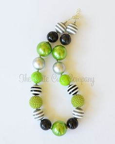Chunky Bubblegum Beaded Necklace....Green, Silver, and Black via Etsy
