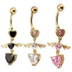 Ala corazón del cuerpo piercing del vientre de la gota de anillo en el ombligo joyas còdigo(1034942)