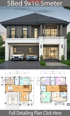 House design plan with 5 bedrooms. Style Thai StyleHouse description:Number of floors 2 storey housebedroom 5 roomstoilet 4 roomsmaid's room storey House Design House design plan with 5 bedrooms - Home Ideas Sims House Plans, Duplex House Plans, House Layout Plans, Dream House Plans, House Layouts, 5 Bedroom House Plans, House Plans 2 Storey, Bungalow House Plans, 2 Storey House Design