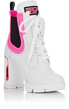 Prada Leather & Neoprene Platform Ankle Boots #fashion #style Platform Ankle Boots, Lace Up Ankle Boots, African Print Jumpsuit, White Flats, Fashion Books, Smooth Leather, Nike Men, Prada, Heels