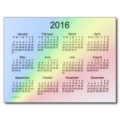 2016 Rainbow Mini Calendar by Janz Postcard