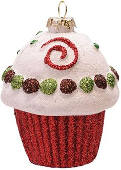 Felices Pascuas Collection inch Merry & Bright Red White and Green Glitter Shatterproof Cupcake Christmas Ornament