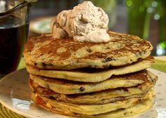 Chocolate Chip Pancakes with Cinnamon Cream from FoodNetwork.com, makes 10, but small ones. 5 normal size ones. Chocolate Chip Pancakes, Chocolate Morsels, Chocolate Chips, Breakfast Dishes, Breakfast Recipes, Breakfast Healthy, Breakfast Pastries, Breakfast Pancakes, Breakfast Club