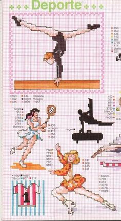 0 point de croix gymnastique tennis patinage - cross stitch gymnastics ice skating tennis