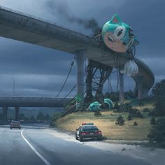 Offering us a chilling alternative to the country that we know so well illustrator Simon Stålenhag imagines what a post-apocalyptic USA might have looked like Arte Sci Fi, Sci Fi Art, Dark Fantasy Art, Dark Art, Art Sinistre, Art Science Fiction, Sci Fi Kunst, Creepy Art, Matte Painting