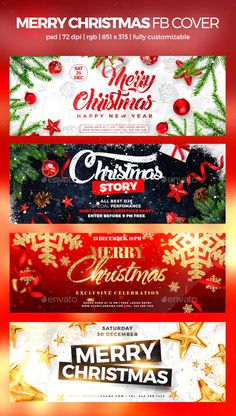 Merry Christmas Facebook Cover by MaksN | GraphicRiver